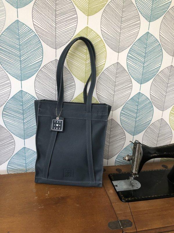 Handgemaakte rug tas shopper blauw