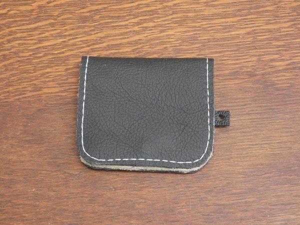 Zwart ,Portemonnee Coin, handgemaakt van leer , tas van sas