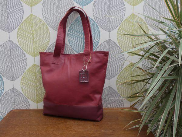 Tas Josje rood , leder, handgemaakt , tas van sas